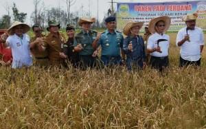 Gubernur Kepri Nurdin Basirun didampingi Bupati Lingga dan para pejabat Pemda setempat saat panen perdana, di Kab. Lingga, Kepri, Selasa (12/7) siang.