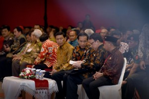 President Joko Widodo accompanied by Coordinating Minister for Political, Legal, and Security Affairs, and Minister of Home Affairs at the Opening of the 1stNational Working Meeting of ADKASI, at C2 Hall JIEXPO Kemayoran, Jakarta, on Tuesday (30/8) (Picture: Public Relations Office/Oji)