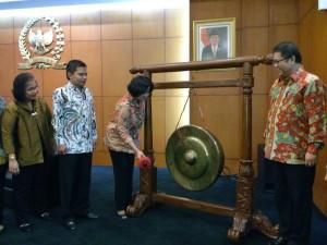Menkominfo saat menghadiri pembukaan acara forum tematik bakohumas MPR di Jakarta (10/8). (Foto:Humas/Anggun).