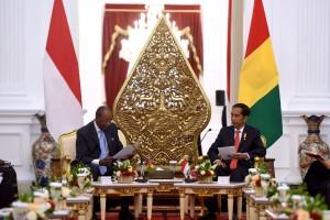Presiden Jokowi melakukan pembicaraan bilateral dengan Presiden Guinea Alpha Condé, di Istana Merdeka, Jakarta, Rabu (3/8) siang. (Foto: OJI/Humas)