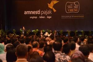 Presiden Jokowi menyampaikan sosialisasi amnesti pajak, di JI Expo Kemayoran, Jakarta, Senin (1/8) siang. (Foto: Deny S/Humas)