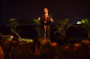 Presiden Jokowi mensosialisaikan amnesti pajak di hadapan pengusaha, Senin (1/8) pagi, di JI-EXPO Kemayoran, Jakarta. (Foto: Humas/Deni)