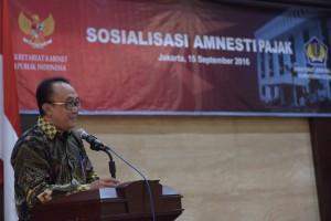 Sosialisasi Amnesti Pajak di lingkungan Sekretariat Kabinet, yang diselenggarakan di aula lantai 1 Gedung III Kemensetneg, Kamis (15/9) pagi.