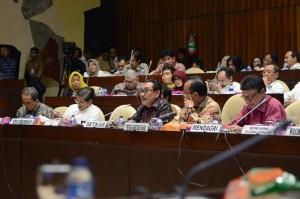 Wakil Seskab Bistok Simbolon dalam rapat dengar pendapat dengan Komisi II DPR, di Jakarta, Senin (19/9) siang. (Foto: Deny S./Humas)