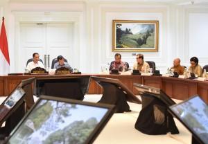 "Presiden Jokowi didampingi Wapres Jusuf Kalla memimpin rapat terbatas membahas ""Jenis-jenis Belanja Dalam APBN"", di kantor Presiden, Jakarta, Jumat (30/9) sore. (Foto: Rahmat/Humas)"