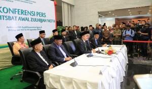 Menteri Agama Lukman Hakim Saifudin menyampaikan keterangan pers tentang penetapan Idul Adha 1437H, di kantor Kemenag, Jakarta, Kamis (1/9) petang