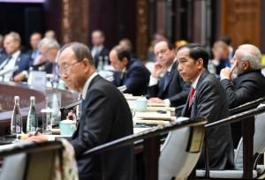 Presiden saat mengikuti Sesi I KTT G20 2016, di HIEC, Hangzhou, RRT, Minggu (4/9) sore waktu setempat. (Foto: Setpres/Laily)