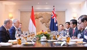 pertemuan bilateral dengan Perdana Menteri (PM) Australia Malcom Turnbull, di ASEM Villa, Vientiane Laos, Kamis (8/9) pagi.