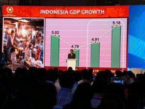 Presiden Jokowi menjelaskan mengenai pertumbuhan ekonomi Indonesia di depan pelaku usaha RRT, Sabtu (3/9), di Hotel Sangri-la Jing'an. (Foto: Humas/Dindha)