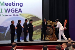 President Jokowi opensthe 17th Assembly Meeting of INTOSAI WGEA atFairmont Hotel Jakarta, Tuesday(25/10) morning. ((Picture: Public Relations Office/Oji
