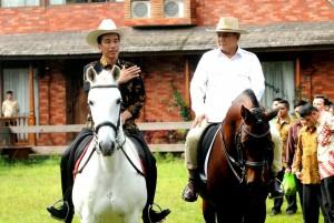 Presiden Jokowi di atas kuda tunggangan didampingi Prabowo Subianto menjawab wartawan, usai 2 jam bertemu Ketua Umum Partai Gerindra itu, di Padepokan Garuda Yaksa, Desa Bojong Koneng, Hambalang, Bogor, Jawa Barat, Senin (31/10) siang. (Foto: Rahmat/Humas)