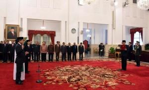 Suasana pelantikan Menteri dan Wakil Menteri ESDM di Istana Negara, Jumat (14/10). (Foto: Humas/Jay)