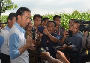 Presiden Jokowi menjawab wartawan usai meninjau proyek Dana Desa, di Desa Sumurgeneng, Kecamatan Tasikharjo, Kabupaten Tuban, Jawa Timur, Senin (28/11) siang. (Foto: OJI/Humas)