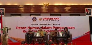 Suasana Forum Tematis Bakohumas yang digelar Ombudsman RI, di Hotel Sari Pan Pacific, Jakarta, Rabu (30/11) pagi. (Foto: Edinur/Humas)