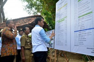 President Jokowi reads an information board at the location of Simultaneous Tree Planting, in Tasikharjo Village, Jenu Subdistrict, Tuban Regency, East Java, on Monday (28/11) afternoon (Picture: Public Relations Office/Oji)