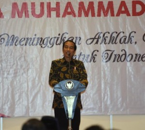 Presiden Jokowi menutup Tanwir I Pemuda Muhammadiyah, di Hotel Narita, Cipondoh, Tangerang, Banten, Rabu (30/11) sore. (Foto: Humas/Deni)