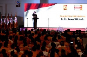 President Jokowi attends the 10th Anniversary of the People's Conscience (Hanura) Party and the opening of the Hanura Party's Extraordinary National Congress, Wednesday (21/12). (Photo: BPMI)