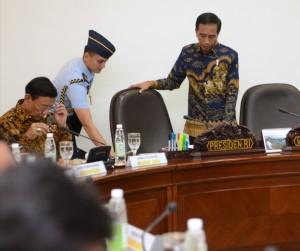 Presiden Jokowi bersiap memimpin Rapat Terbatas, di Kantor Presiden, Jakarta, Kamis (29/12) siang. (Foto: Deny S/Humas)