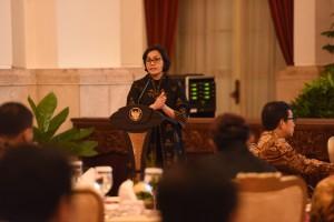 Menkeu Sri Mulyani dalam acara Sosialisasi Program Pengampunan Pajak di Istana Negara, Jumat (9/12). (Foto: Humas/Fitri)