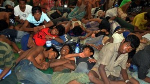 Rohingya refugees at a shelter in Aceh