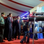 President Jokowi, accompanied by Coordinating Minister for Political, Legal, and Security Affairs as well as Commander of TNI, is looking at a device of TNI after the opening of the 2017 TNI Leaders Meeting in Cilangkap, Jakarta, on Monday (16/1) morning (Photo: PR/Oji)
