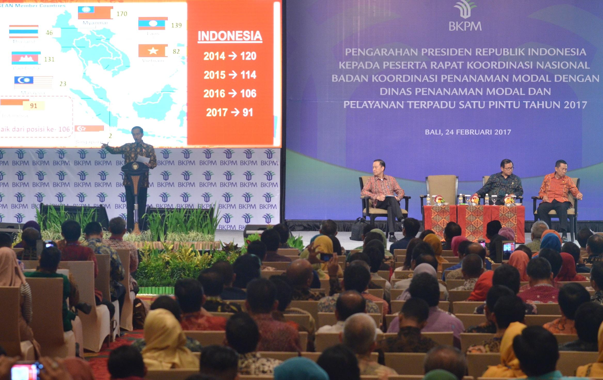 residen Jokowi saat memberikan arahan pada Rapat Koordinasi (Rakornas) Badan Koordinasi Penanaman Modal (BKPM) Tahun 2017, di Bali Nusa Dua Convention Center (BNDCC), Nusa Dua,  Bali, Jumat (24/2) petang. (Foto: Humas/Jay)