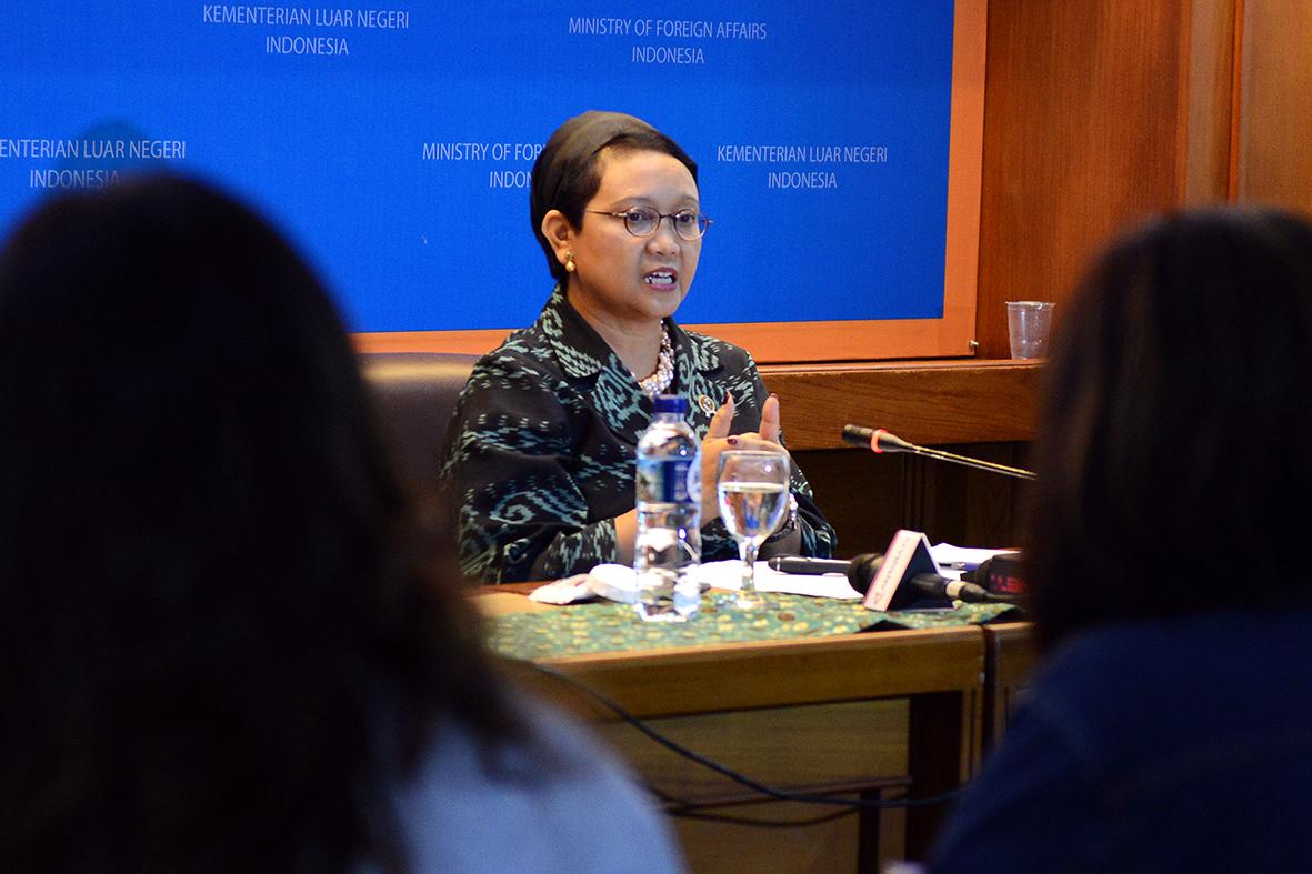 Menlu RI Retno LP Marsudi Pada Press Briefing tentang KTT IORA, di Kemlu, Jakarta, Jumat (3/3) siang. (Foto : Dite Infomed Kemlu)