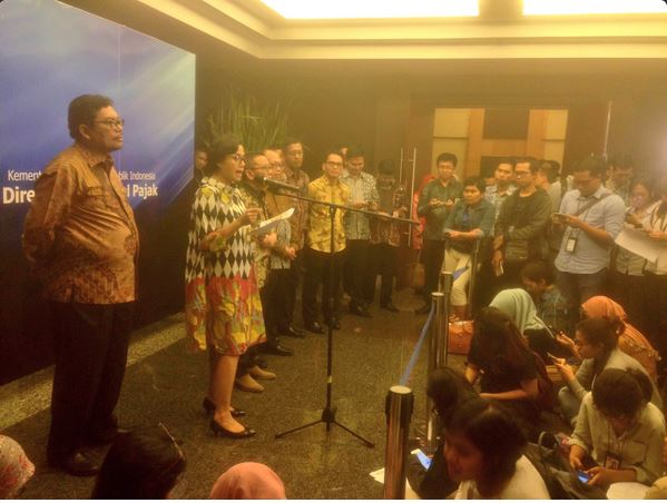 Minister of Finance Sri Mulyani in a press conference on the realization of Tax Amnesty