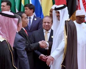 Presiden Jokowi berbincang dengan kepala negara lain di sela waktu Konferensi Tingkat Tinggi (KTT) Arab Islam Amerika, di Conference Hall King Abdulaziz Convention Center, Riyadh, Arab Saudi, Minggu (21/5).