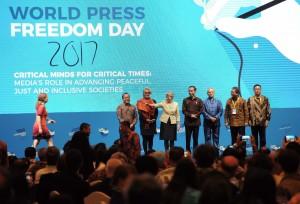 Presiden Jokowi saat hadir dalam acara Press Freedom Day 2017, di Jakarta Convention Centre (JCC) Senayan, Jakarta Pusat, Rabu (3/5) malam. (Foto: Humas/Jay)