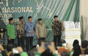 Presiden Jokowi saat membuka Musyawarah Kerja Nasional dan Halaqoh Ekonomi Nasioal Himpunan Pengusaha Nahdliyin 2017, di Pondok Pesantren As Tsaqafah, Jagakarsa, Jakarta, Jumat (5/5). (Foto: Humas/Deni)