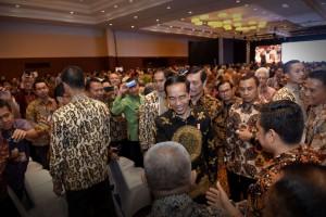 Presiden Jokowi saat hadir pada pembukaan Rapat Koordinasi Nasional Bidang Kemaritiman Tahun 2017, di Sasana Kriya, TMII, Jakarta Timur, Kamis (4/5). (Foto: Humas/Oji)