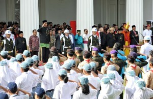 President Jokowi attends the ceremony commemorating the Founding of Pancasila, at the Ministry of Foreign Affais, Jakarta, on Thursday (1/6)