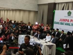 Jumpa Pers pengumuman penetapan Idul Fitri 1 Syawal 1438 H di Kantor Kementerian Agama, Sabtu (24/6).