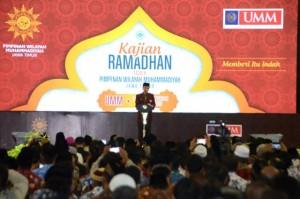Presiden Jokowi saat berbicara di Acara Kajian Ramadan 1438 H PW Muhammadiyah Jawa Timur, Sabtu (3/6). (Foto: Humas/Deni).