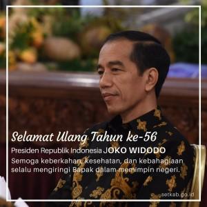Ucapan Selamat Ulang Tahun ke-56 kepada Presiden Jokowi (Foto: Dokumentasi Humas Setkab)
