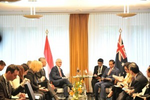 President Jokowi and Prime Minister Turnbull are in a meeting in Hamburg, Germany, on Friday (7/7)