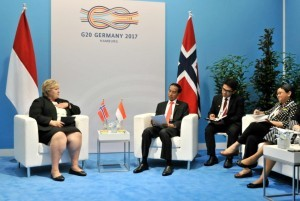 a bilateral meeting between President Jokowi and Prime Minister Erna Solberg in Hamburg Messe, Germany, on Saturday (8/7)