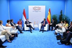 Pertemuan Presiden Jokowi dan PM Spanyol di Hamburg, Jerman (7/7).