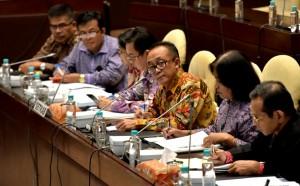 Deputi Seskab Bidang Administrasi dan Deputi Seskab Bidang Perekonomian mengikuti agenda Rapat Dengar Pendapat Setkab dengan Komisi II DPR RI di Gedung DPR, Jakarta, Kamis (13/7). (Foto: Humas/Rahmat).