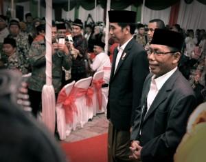 "Presiden Joko Widodo menghadiri halal bihalal kebangsaan ""Meneguhkan Bhinneka Tunggal Ika"" di Sekolah Merah Putih Nasima, Semarang, Sabtu (22/7) malam. (Foto: Humas/Agung)"