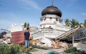Masjid Jami Quba di Kab. Pidie Jaya, Aceh, yang roboh terkena gempa akhir Desember 2016 lalu.