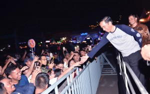 Presiden Jokowi saat menghadiri perhelatan festival musik We The Fest 2017, di JI Expo Kemayoran, Jumat malam, 11 Agustus 2017.