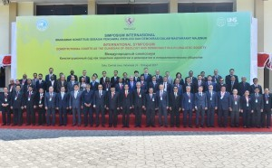 President Jokowi is in a group photo with the Participants of the Congress of Association of Asian Consitutional Court and Equivalent Institutions (AACC) 2017 in Solo, Central Java, on Wednesday (9/8)