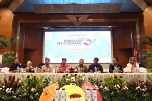 Kepala Staf Kepresidenan, Teten Masduki, dalam jumpa pers Karnaval Kemerdekaan HUT ke-72 Republik Indonesia, di Kementerian Pariwisata, Jakarta, Selasa (22/8)