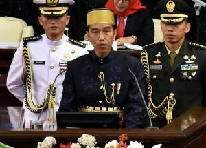 Presiden Jokowi menyampaikan pidato pada Sidang Tahun MPR RI Tahun 2017, di Gedung Nusantara MPR/DPR/DPD, Jakarta, Rabu (16/8) pagi. (Foto: Rahmat/Humas)