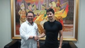 CEO Telegram, Pavel Durov menemui Menkominfo Rudiantara, di Kantor Kementerian Kominfo, Selasa (1/8).