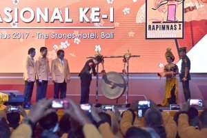 President Jokowi opens the 1st National Leadership Meeting of the Hanura Party at the Stones Hotel in Kuta, Bali, Friday (4/8) (4/8). (Photo by: Public Relations Division/Oji)