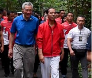 PM Singapura Lee Hsien Loong berjalan bersama Presiden Jokowi menuju lokasi penanaman pohon, di Singapore Botanic Garden, Kamis (7/9) pagi. (Foto: BPMI Setpres)