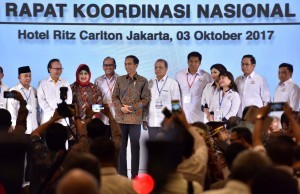 President Jokowi attends the closing of the 2017 National Coordination Meeting of KADIN on Tuesday (3/10) (photo: PR/Jay)